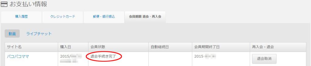パコパコママモバイルサイトの退会手続き完了後のD2PASSページ
