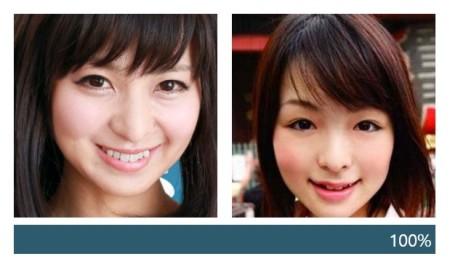 広瀬優希と愛里ひなの顔の一致度測定ツールの結果画像