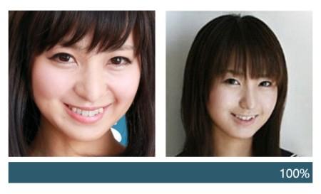 広瀬優希と森野まりなの顔の一致度測定ツールの結果画像