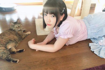 鈴木心春と猫の画像